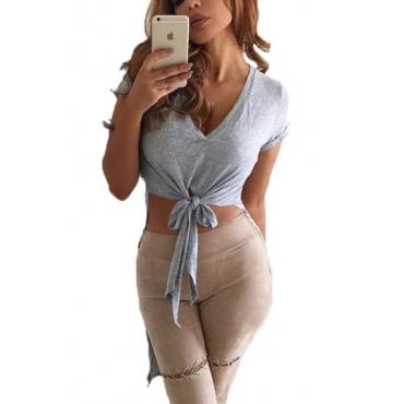 Leisure V cuello manga corta asimétrico camiseta de algodón gris