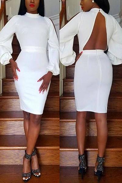 Здоровые ткани Sexy Водолазка с длинным рукавом Оболочка Мини-платья