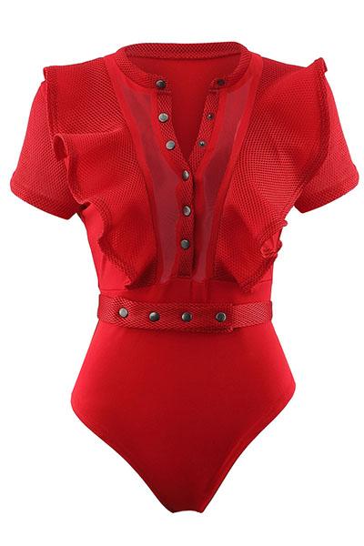 Sexy cuello redondo mangas cortas See-Through rojo poliéster de una sola pieza Skinny Jumpsuits