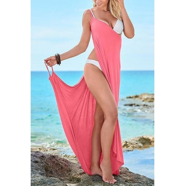 Euramerican High Split Pink Polyester Cover-Ups
