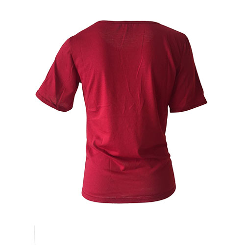 Lazer Em Torno Do Pescoço Mangas Curtas Letras Impressas Vinho Tinto Poliéster T-shirt
