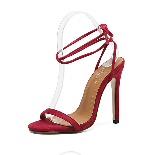 Moda Pointe Toe Lace-up Hollow-out súper alto talón rojo Suede Tobillo Correa Sandalias