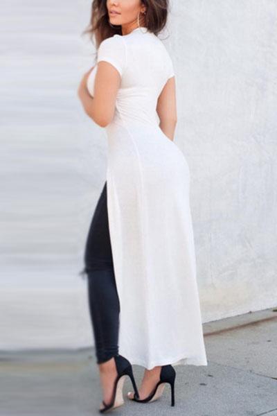 Stylish Round Neck Short Sleeves Front Split White Blending T-shirt