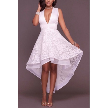 Gauze Sexy V Neck Sleeveless Ankle Length Dresses