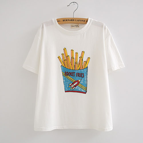 Casual Round Neck Short Sleeves French Fries Printing White Cotton T-shirt