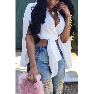 Pullovers Knitting V Neck Long Sleeve Solid Blouses&Shirts