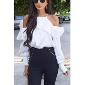 Pullovers Chiffon O Neck Long Sleeve Solid Blouses
