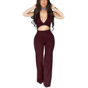 Healthy Fabric Solid Skinny Jumpsuits