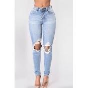 denim Solid Zipper Fly High Skinny Pants Jeans