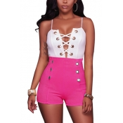 Stylish High Waist double-breasted Rose Red Healthy Fabric Shorts