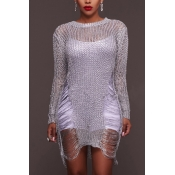Sexy Round Neck Long Sleeves Hollow-out White Polyester Mini Dress