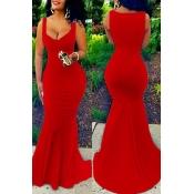 Euramerican U-shaped Neck Sleeveless Red Cotton Blend Sheath Floor Length Dress