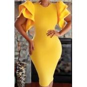 Healthy Fabric Fashion O neck Short Sleeve Sheath