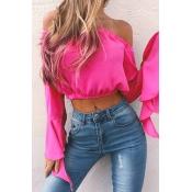 Charming Bateau Neck Long Sleeves Falbala Design Rose Red Chiffon Shirts