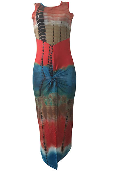 Bohemian Round Neck Sleeveless Printed Plissado Rayon Ankle Length Dress