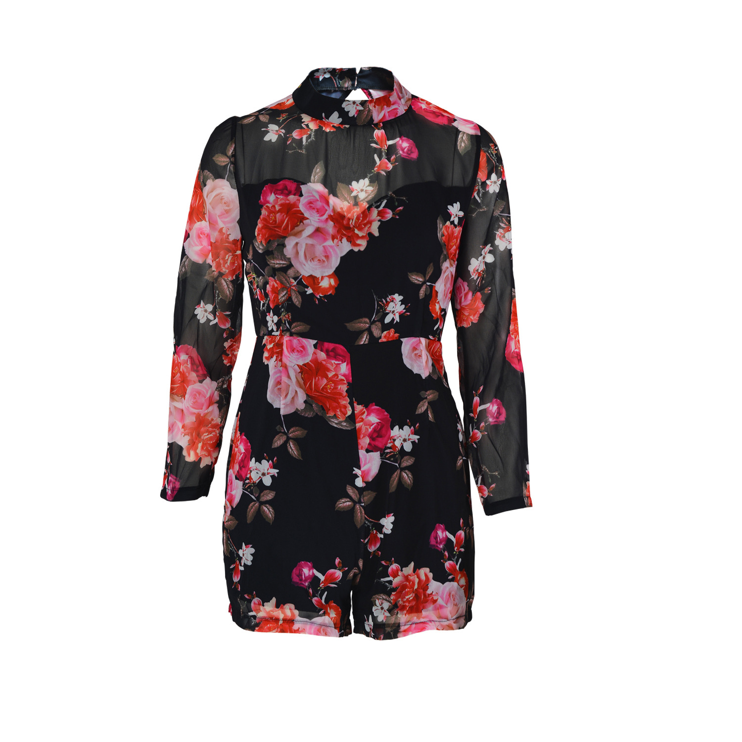 Sexy Round Neck Long Sleeves Floral Print Backless Chiffon One-piece Skinny Jumpsuits