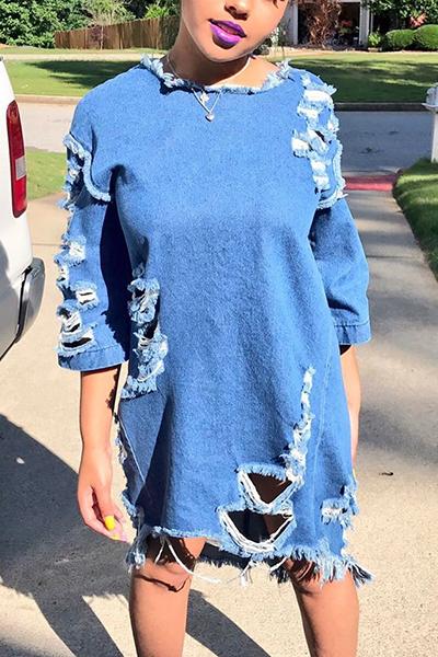 Досуг Круглый шею Половинные рукава Синее джинсовое мини-платье (с поясом)