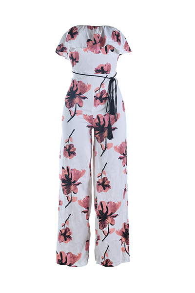 Qmilch Print Straight Jumpsuits