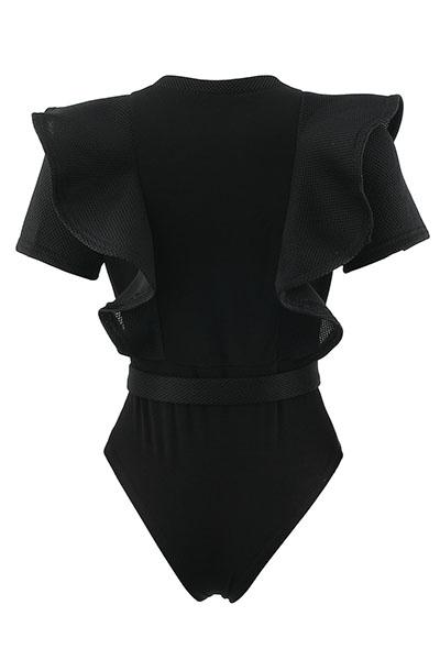 Sexy pescoço redondo mangas curtas See-Through preto poliéster de uma peça magro Jumpsuits