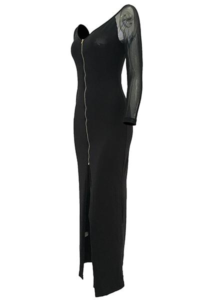 Trendy V Neck Mangas compridas Gauze Patchwork Black Polyester Sheath Ankle Length Dress