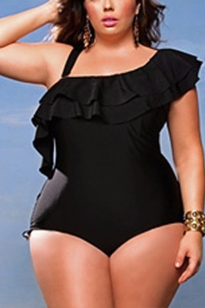 Sexy Falbala Design Black Polyester One-piece Swimwear