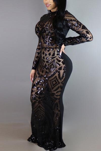 Charming Round Neck Long Sleeves Sequins Decoration Black Milk Fiber Sheath Ankle Length Dress