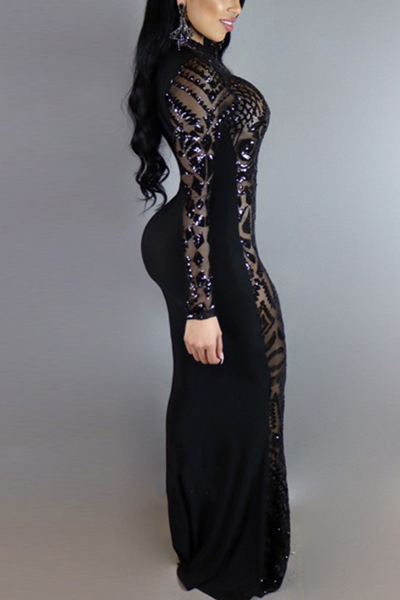 Charmante runde Hals lange Ärmel Pailletten Dekoration schwarze Milch Faser Mantel knöchellangen Kleid