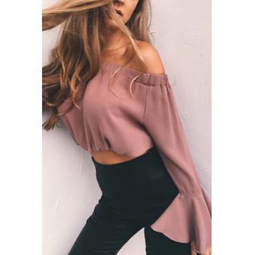 Charming Bateau Neck Long Sleeves Pink Chiffon Shirts