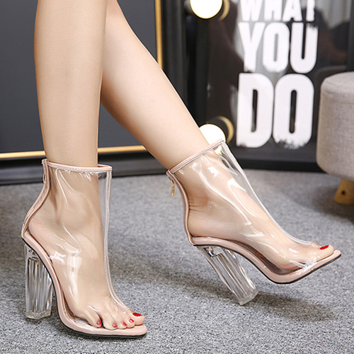 Not Specified Round Toe peep Toe Chunky Super High Fashion Pumps