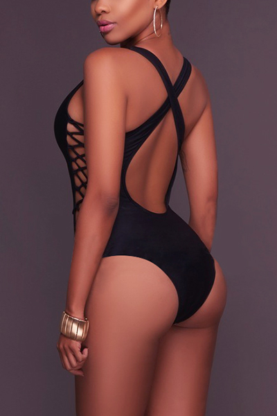 Sexy Hollow-out Black Polyester One-piece Swimwear
