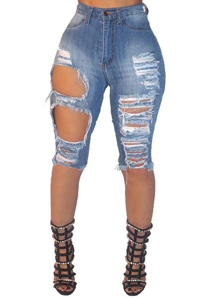Cotton Solide Zipper Fly Mid-dünne Capris Jeans