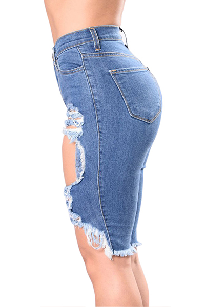 Cotton Solid Zipper Fly High Regular Capris Jeans