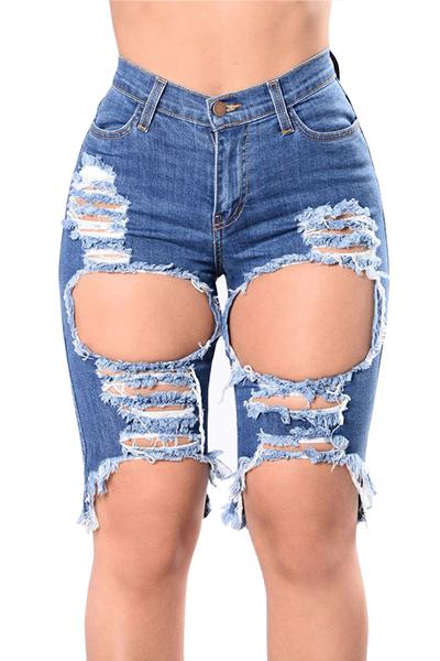 Algodão Sólido Zipper Fly High Regular Capris Jeans