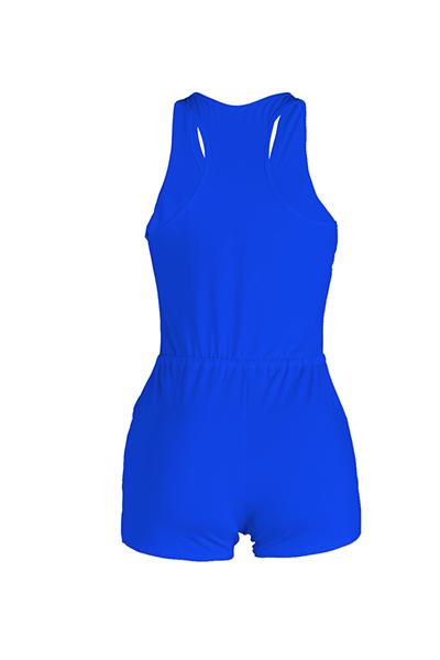 Lazer Design sem mangas de cordão Azul Poliéster Um-peça macacão magro