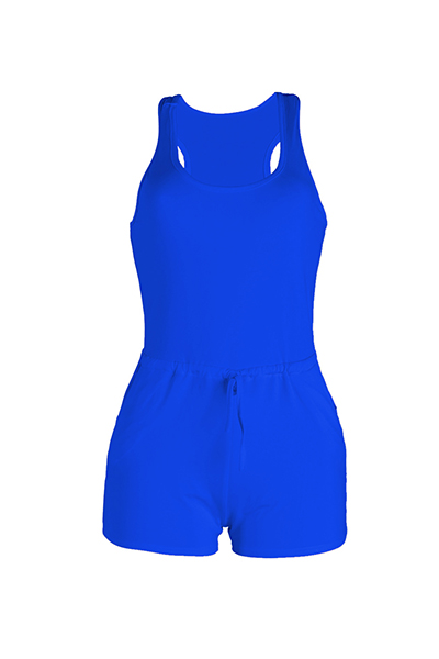 Lazer sem mangas Drawstring Design poliéster azul de uma peça skinny Jumpsuits