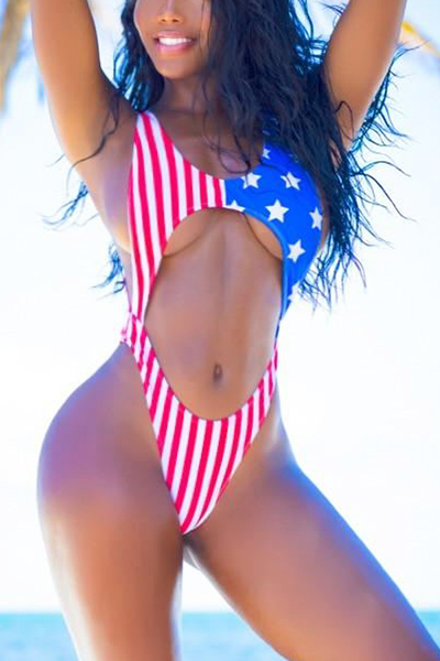 Sexy amerikanische Flagge bedruckt Backless Red Polyester One-piece Badebekleidung
