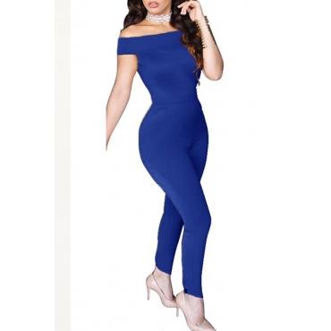 Sexy Dew Shoulder Bow-Tie Decoration Blue Blending One-piece Jumpsuits