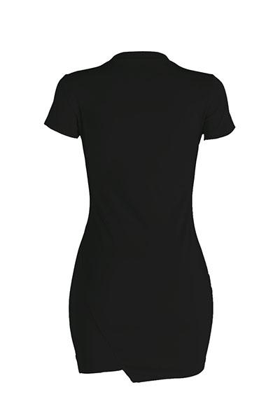 Leisure Round Neck manches courtes Broken Holes Black Polyester Mini Dress