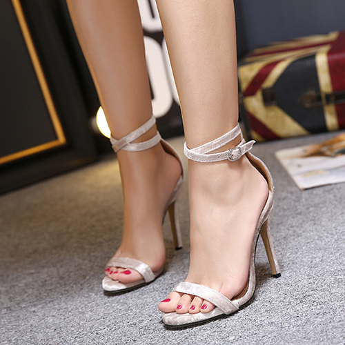 Stylish Pointed Peep Toe Hollow-out Stiletto Super High Heel Apricot PU Sandals