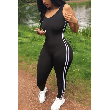 Leisure U-shaped Neck Sleeveless Patchwork Black Qmilch One-piece Skinny Jumpsuits