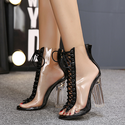 Stylish Pointed Peep Toe Lace-up Hollow-out Stiletto Super High Heel Material Pumps