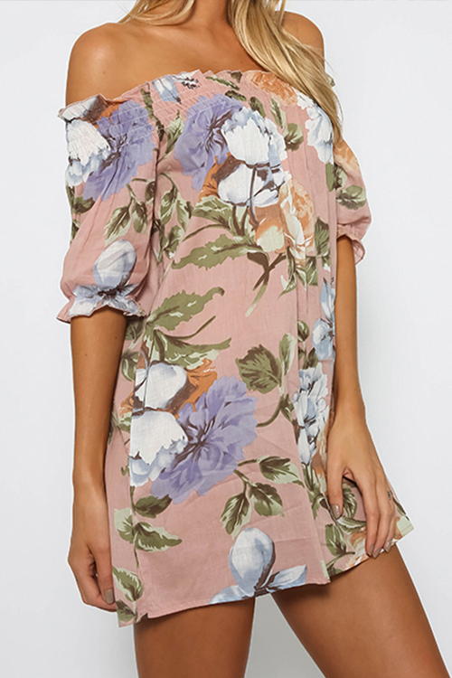 Blending Bohemian Bateau Neck Half Sleeve Straight Mini Dresses