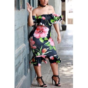 Очаровательная Росы Плеча Цветочный Принт Здоровой Ткани Оболочки Колен Платье