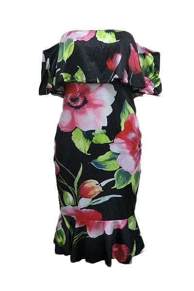 Charming  Dew Shoulder Floral Print Healthy Fabric Sheath Knee Length Dress