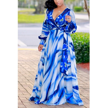 Euramerican V Neck Long Sleeves Digital Printing Blue Twilled Satin Floor Length Dress