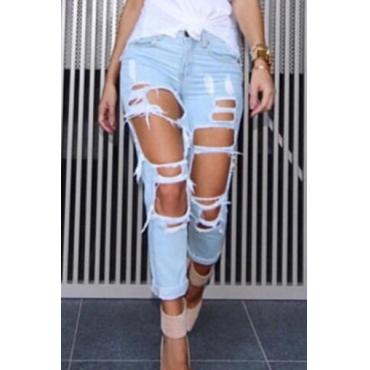 Elegante alta cintura roto agujeros Light Blue Denim Jeans