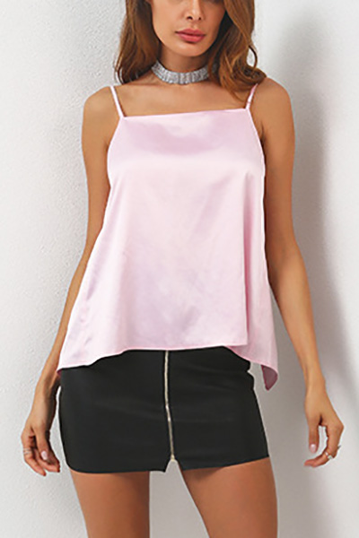 Sexy Backless Pink Poliester Tank Top