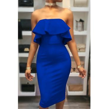 Очаровательная роса плеча Falbala Design Blue Cotton Sheath Knee Length Dress