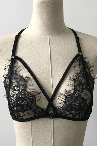 Sexy Lace Trim Patchwork Black Bra