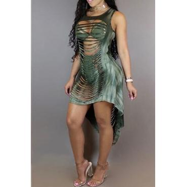 Sexy Round Neck Hollow-out Asymmetrical Green Milk Fiber Ankle Length Dress